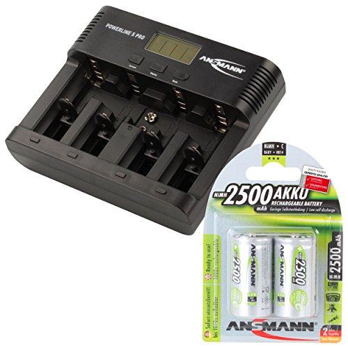 ANSMANN Akku-Ladegerät für AA/AAA/C/D/9V-Block NiMH Akkus - Batterieladegerät mit 5 Ladeprogrammen: Laden, Entladen, Testen, Refresh, Schnellladen + USB - Powerline 5 Pro + 2x 2500mAh Baby C Akkus (Akku-ladegeräte Aa-aaa-c-d)
