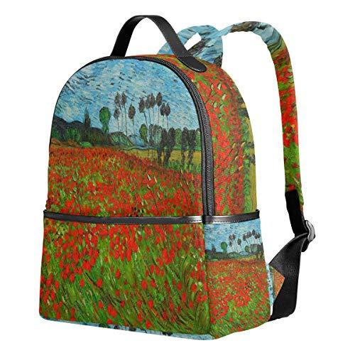 Tenboya Schulrucksack Van Gogh Field of Poppies Student Ranzen Rucksack für Mädchen süße Schultasche Mädchen Poppy