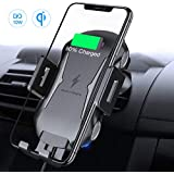 FLOVEME Fast Wireless Car Charger Mount, Touch Sensitive 10W Car Phone Holder Compatible for Galaxy S9 S8 S8 Plus S7 S7 Edge, 7.5W Qi Charger Compatible for iPhone 8/8+/X/XS/XS Max/XR and More