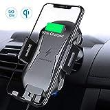 FLOVEME - Caricatore da auto wireless sensibile al tocco, 10 W, con supporto automatico Qi, compatibile con Samsung Galaxy Note 9/8/S9/S8, iPhone Xs Max/XR/X 8/8 Plus e altri