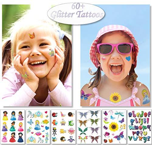 Glitter tatuaggi temporanei per bambine - 6 fogli divertenti scintillio adesivi - 60+ splendente cuore fata farfalle piume tatuaggi finti