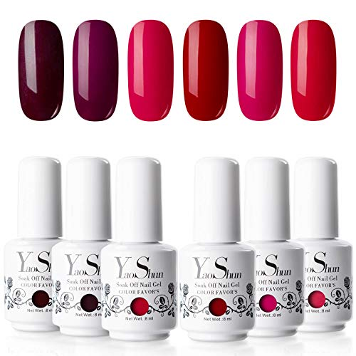 Yao Shun Soak Off Gel Nail Polish Sets 6 Colours Red Wine Series UV LED Gel Polish Set 8ml Kit#006