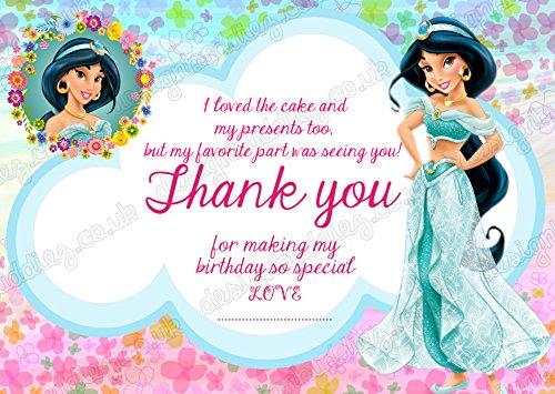 8x Prinzessin Jasmin Thank You Karte Disney Jasmin Party als Sie Karten Prinzessin Jasmin Geburtstag + Gratis umhüllt (Jasmin Geburtstag Party)