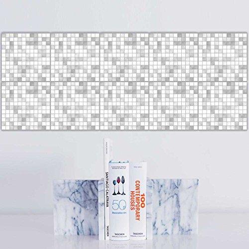 20 stück Fliesenaufkleber für Küche und Bad | Mosaik-Stil Orange Blau Designs wandfliesen...