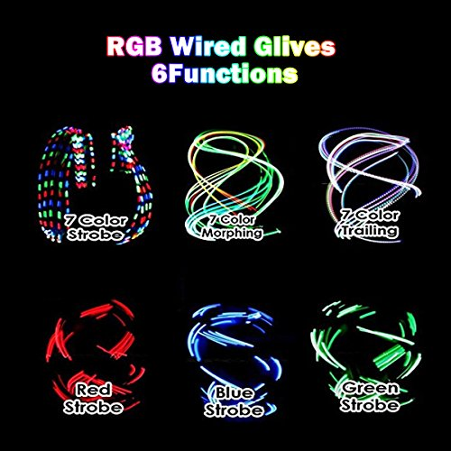 Ideapro LED Light Gloves Rave Flashing Glow Light Up Full Finger Fingertips Lighting Gloves Party Game Favor Colorful Party Dance Birthday Disco Clubs Festivals Christmas Running Cycling Sports