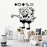 zqyjhkou Pretty Spongebob Squarepants autoadesiva Vinile Adesivo Decalcomania della Parete per Bambini camere Arredamento Decalcomania della Parete Impermeabile Decalcomania L 43 cm x 45 cm