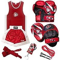 PRIME Uniforme Camiseta & Pantalones Cortos Boxeo Niños + Guantes Boxeo Rojo Blanco (1008) con Escudo Negro Rojo 1103 - Guantes Boxeo (1008) Escudo (1103), Uniforme 11-12 Años