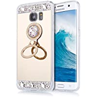 EINFFHO Galaxy S6 Edge Plus móvil, Galaxy S6 Edge Plus Espejo Funda, Cristal Strass Diamante Bling Brillante Espejo móvil para Samsung Galaxy S6 Edge Plus