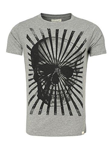 Shine Original Herren T-Shirt BIG SKULL Vintage Optik Totenkopf Printshirt Streifen Frontprint Grau