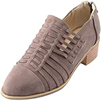 Zapatos casual slip on de mujer,Sonnena ❤️ Zapatos de cuña de mujer Ponted Toe Botines de color puro con cremallera Zapatos cuadrados de tacón cuadrado