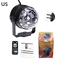 Sliveal Party Lights Dj Disco Stage Lights, Sound Activated Strobe Light 7 Modes With Remote Control RBG Disco Ball Light For Home Room Dance Parties Bar Karaoke Xmas Wedding Show Club