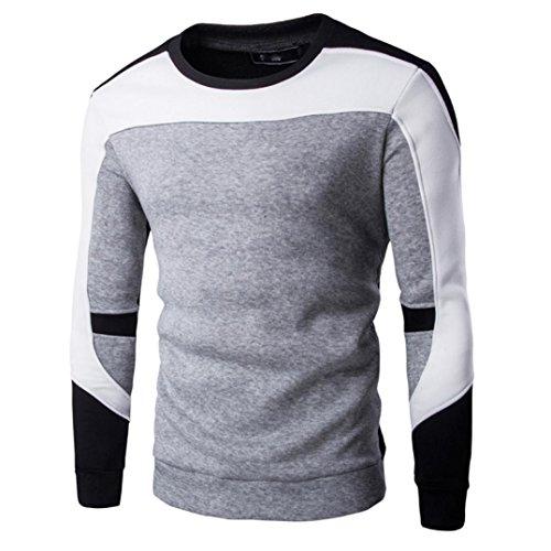 Patchwork Pullover Herren, DoraMe Männer Frühling Herbst Winter Swearshirt Lässige Outwear Lässig Strand Hemd(Bitte wählen Sie eine größere Größe als üblich) (Grau, S) (Leinen-mischung-jacke)