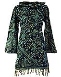 Guru-Shop Minikleid Boho Chic, Kapuzenkleid, Strickkleid, Tunika, Damen, Schwarz/Petrol, Synthetisch, Size:L (40), Kurze Kleider Alternative Bekleidung