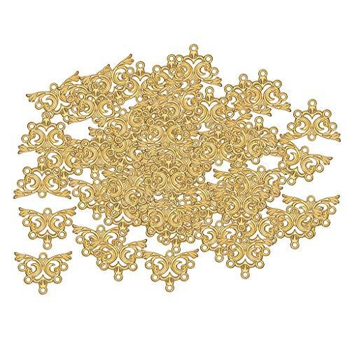 IPOTCH 100x Schmetterling Charm Anhänger Braut Basteln Schmuck Halskette Kopfschmuck Anhänger Haar Schmuck, Nähen Kostüm Dekorationen - Golden, 26x20mm (Kostüm Braut Schmuck Online)