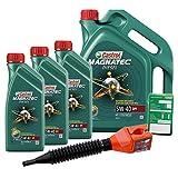 3x 1 L + 5 L = 8 Liter Castrol Magnatec Diesel 5W-40 DPF Motor-Öl inkl. Castrol Ölwechsel-Anhänger und Einfülltrichter