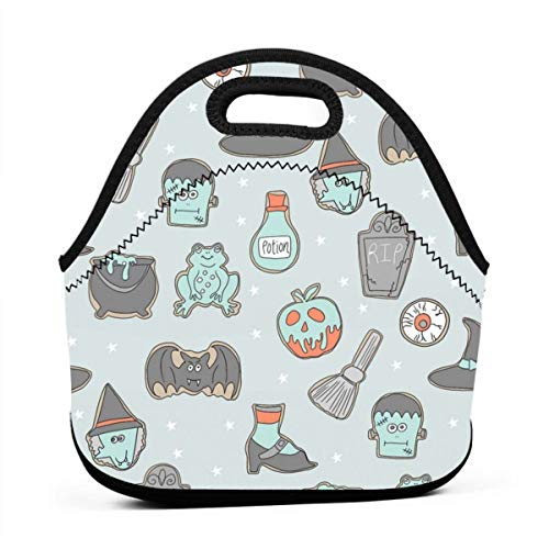 Clothes socks Portable Bento Lunch Bag,Halloween Cookies Cute Halloween Food, Potion, Frog, Witch, Frankenstein, Halloween Food - Light for Kids Adult Thermal Insulated Tote Bags (Fun Für Halloween Snacks Kid)