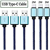 Cable USB C [3-Pack 2M 2M 3M ] Cable USB Tipo C Cargador Tipo C Trenzado de nylon Cable Type C para Samsung Galaxy S8 / S8 Plus / A3/A5(2017) / A7 / A9 / C9, Macbook Pro 2016, Sony Xperia X Compact, Nexus 5X/6P, HTC 10, LG G5 / G6, Lumia 950/XL, Huawei P9 / P10