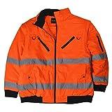 Marc&Mark Herren Übergrößen 2 in 1 Warnschutzjacke/Wetterjacke orange, XL Größe:6XL
