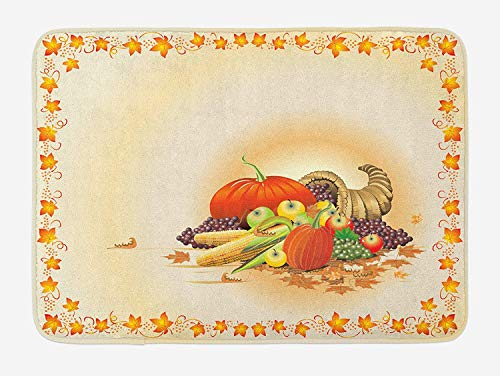 TKMSH Harvest Bath Mat, Maple Tree Frame with Rustic Composition for Thanksgiving Halloween Dinner Food, Plush Bathroom Decor Mat with Non Slip Backing, Multicolor,19.6X31.4 inch/50 * 80cm (Foam Frames Halloween)