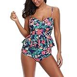 Dicomi Costume da Bagno a Due Pezzi Sexy con Floreale Stampa Bikini Bohemian Beachwear Donna Canottiera Pantaloncino da Bagno