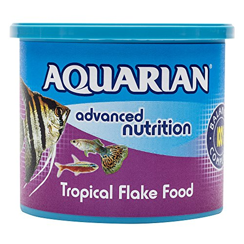 AQUARIAN Complete Nutrition, Aquarium Tropical Fish Food Flakes, 200g Container