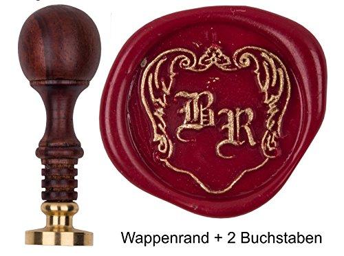 Siegelstempel mit Gravur pers. Initialen 2 Buchstaben Fraktur + Wappenrand, Teakholz