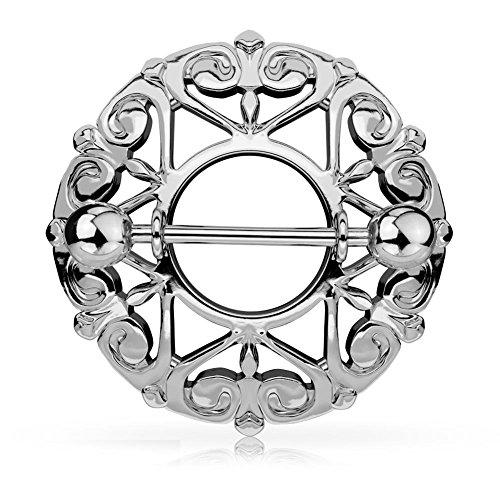 Paula & Fritz® Brustwarzenpiercing aus Edelstahl Chirurgenstahl 316L Silbern Motiv: Schild mit Herzornamenten