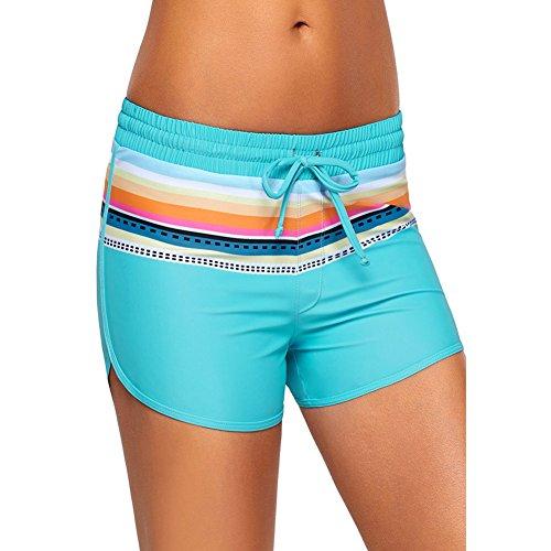 Amadoierly T-Stück gedruckt Short-Side Badeanzug Bikini Kordelzug (Beinhaltet die dreieckige Verkleidung), Hellblau, 2XL (Gedruckt Cheerleader)