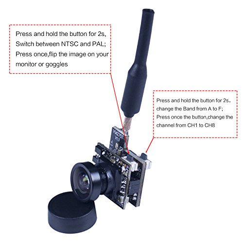 SunFounder SF-C01 FPV Kamera Micro Camera with 5.8G 48CH 25mW Transmitter and Y-Shape Splitter for Blade Inductrix Quadcopter Multiroter Aircraft Model - 2