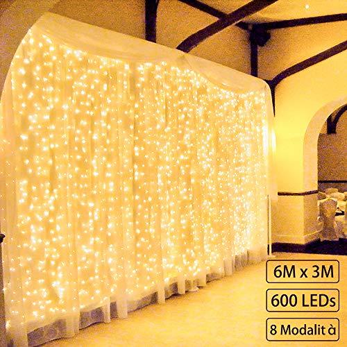 600 led 6m*3m zorela tenda luminosa natale ip44 impermeabile luci di natale 8 modalità tenda luminosa esterno bianco caldo tenda di luci esterno led luci stringa per natale, giardino e matrimonio