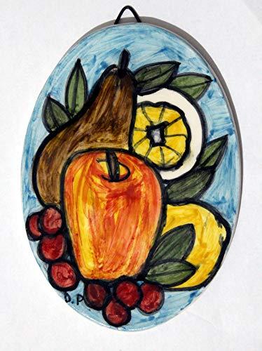 Obst- ovale Keramikfliese, handgefertigte Abmessungen cm 10,6 x 14,6 cm,Bereiten Sie vor, um an der Wand zu hängen Hergestellt in Italien in Toskana, Lucca Geschaffen durch Davide Pacini. (Obst Gerichte,)