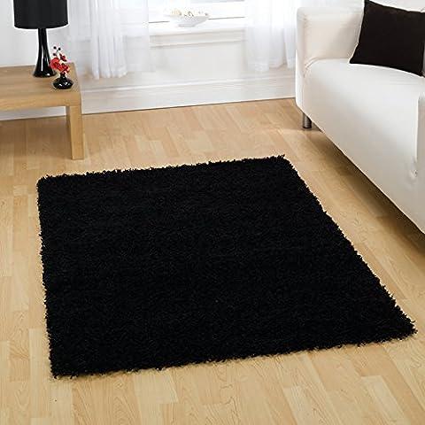Tapis Salon Shaggy Trendy - Textures moderne salon Tapis Shaggy Épais, noir–120x