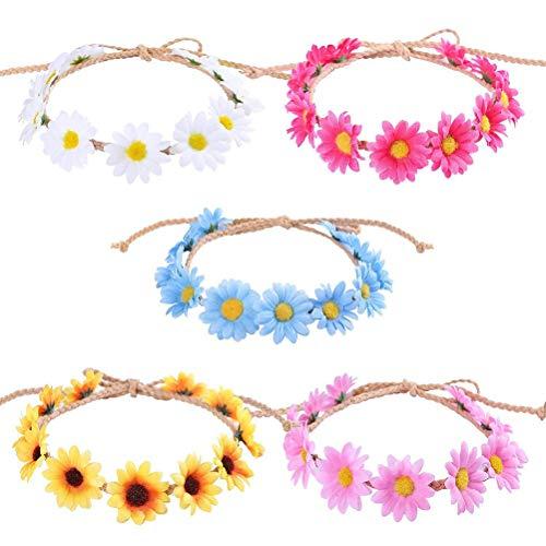 Lurrose 10er Daisy Flower Stirnband Sunflower Crown Verstellbarer Haarkranz für Hochzeitsfeste (Flower Stirnband Daisy)