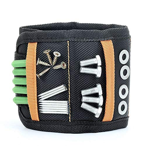 Magnetisches Armband, Starken Magnet Nagel Schrauben Werkzeug Halter, mit 10 leistungsstarken Magneten, Geschenk für DIY Heimwerker Männer Papa