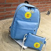 Bolso de Hombro doble lienzo un rostro sonriente emoticono cartas ocio bolso doble versión coreana del colegio, mochila azul