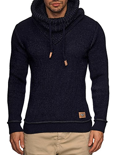 Indicode Herren Keshawn Grobstrick Winter-Pullover Norweger Hoodie Strickpullover Schalkragen Slim Fit Blau XL