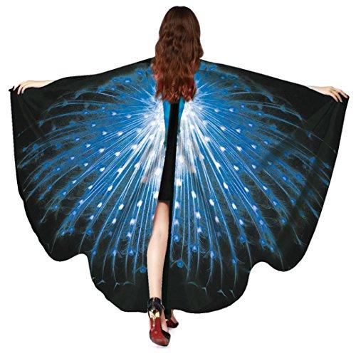 Frauen Pfau Flügel Schal, Hmeng Damen Schals Nymphe Pixie Poncho Multicolor Wrap Kostüm Zubehör für Party oder Show (168*135CM, Blau)