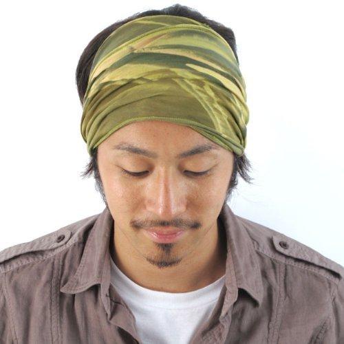Casualbox Herren elastisch Stirnband Headband Hand gefärbt Japanisch Bandana Marble Khaki