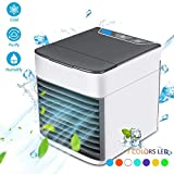 Portable Air Conditioner,4 in 1 Mini USB Cooling Air Cooler Personal Space | Humidifier | Purifier | 7 Colors LED Lights Desktop Cooling Fan for Office Home Outdoor Travel