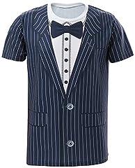 Idea Regalo - COSAVOROCK T-Shirt da Uomo a Righe con Smoking (L, Cravatta a Farfalla)