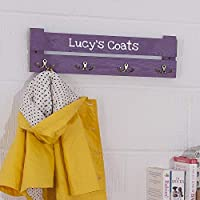 Kids Personalised Coat Rack - 4 Hooks - Colour Pink