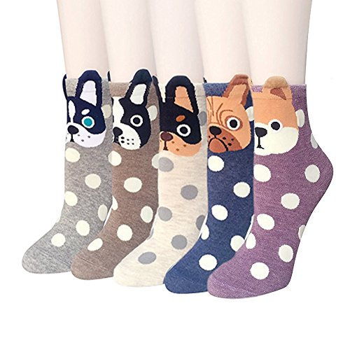 Womens Hund (LHZY Womens Mädchen Socken 5er Pack, lustige niedlich Spotty Hunde Cartoon süßes Design, komfortable Baumwollmischung Boden Socken)