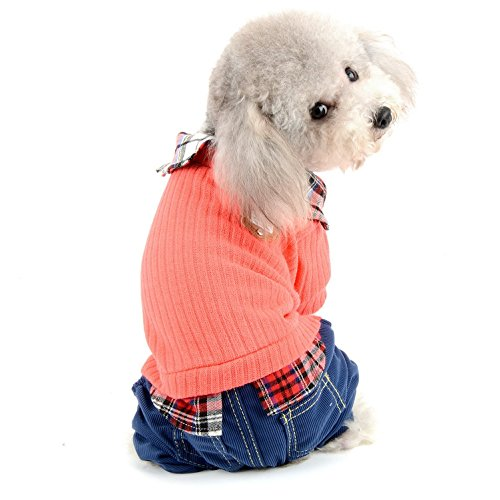 SELMAI Kleine Hunde Pullover Jumper Plaid Shirt Halsband mit Hosen Jumpsuit Overall Kostüme für Chihuahua Jungen und Mädchen Stilvoll Student Uniform (Jumpsuit Uniform Kostüme)