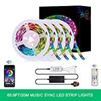 Nishore LED Strip Lights, 65.6FT/20M LED RGB Light Strip Music Sync 5050 SMD Color Changing BT Controller + 24 Key Remote for Bedroom Home Party UK Plug