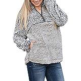 Tianwlio Damen Lässige Langarmshirt Hoodie Pullover Weihnachtsaltes Warmer Flauschiger Winter Blusen mit Festem Reißverschluss Sweatshirt Grau XL