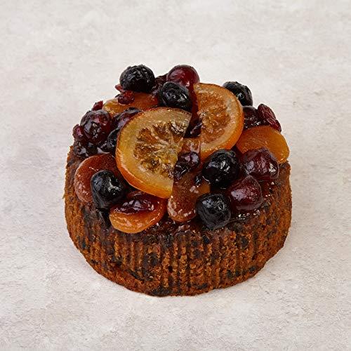 The Cakeology Co. Bakery 14cm Kuchen in einer Form - Reichhaltiger Früchtekuchen mit Brandy, handdekoriert mit glasierten Früchten, 765g
