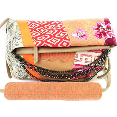 Bag designer 'Desigual'beige rosa arancione.