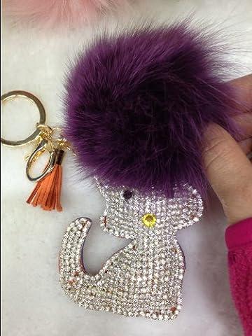 1x Fourrure Synthétique Porte Clés Chat strass bijoux e0353–3, violettes Fourrure avec Strass blanc et orange PU)