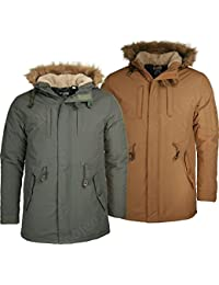 Mens Joey Parka Jacket SoulStar Padded Fish Tail Parker Faux Fur Trim Hooded Coat