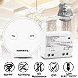 BINGONE Funkschalter Set Lichtschalter für LED-Licht,Tragbare oder Wand montierte schnurlose Fernbedienung EIN / AUS für Haushaltsgeräte, Transmitter + Empfänger (Weiß)